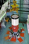 Nozzle End Segment of GSLV-F08 Core Stage being placed on the Mobile Launch Pedestal.jpg
