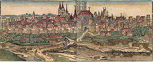 History of Munich - Munich in a 1493 woodcut from Hartmann Schedel's Nuremberg Chronicle