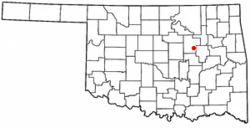 Location of Slick, Oklahoma