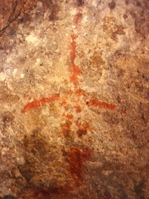 Chumash Indian Museum - 12-inch long swordfish pictograph.