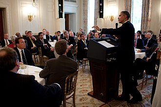 National Governors Association - President Barack Obama answers questions from the National Governors Association in the State Dining Room of the White House, Feb. 22, 2010.