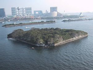 Bakumatsu - Odaiba battery at the entrance of Tokyo, built in 1853–54 to prevent an American intrusion