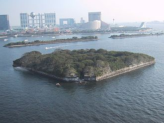Perry Expedition - Odaiba battery at the entrance of Tokyo, built in 1853–54 to prevent an American intrusion