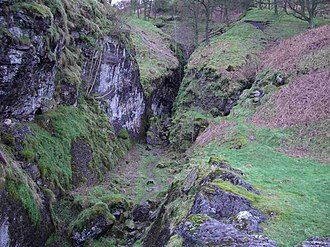 Odin Mine - The ravine into the hillside which was the original workings