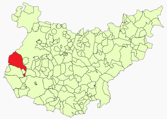Location of the Olivenza/Olivença territory in the Spanish province of Badajoz.