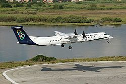 Olympic Air Dash 8-Q400 landing at Corfu International Airport.jpeg
