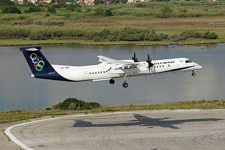 los angeles 546b6 55bcb Indexes  Olympic Air s Bombardier Dash 8-Q400 landing at Corfu  International Airport (September 2014)