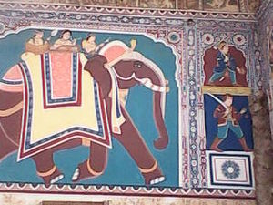 Fatehpur, Rajasthan - Wall painting in Saraf Haveli