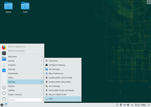 openSUSE Leap 15.0 default Plasma 5 desktop, with YaST selected in the Application Menu