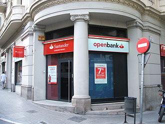 IBEX 35 - Banco Santander branch in Barcelona