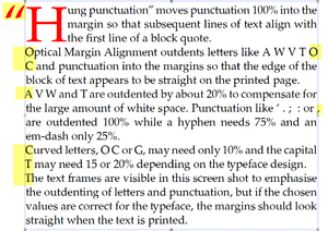 Optical margin alignment - Text is outdented into margins