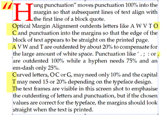 Optical margin alignment - Example of text outdented into margins