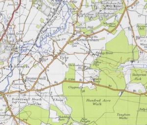 Eyke - Image: Ordnance Survey map of Eyke Suffork