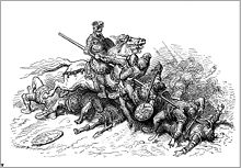 Un chevalier, sur sa monture, transperce une foule d'ennemis avec sa lance.