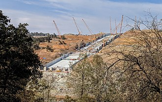 Oroville Dam - The Oroville Dam main spillway on August 5, 2018, during phase 2 repairs