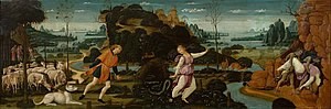 The Tale of Orpheus and Erudices his Quene - Jacopo del Sellaio, Orpheus and Eurydice, c.1480