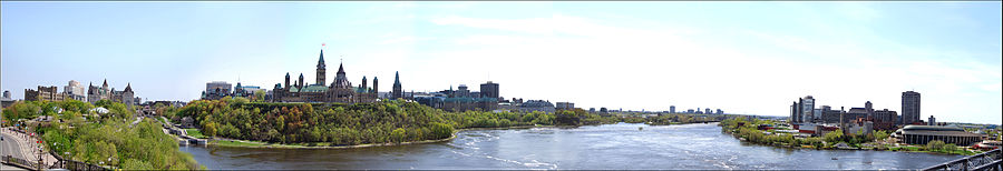 The back of the Parliament buildings as seen from the Ottawa River