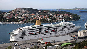 MV Aurora (2000) - Aurora docked in Dubrovnik in pre 2014 livery.