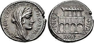 """Fonteia (gens) - Denarius of Publius Fonteius Capito, 55 BC.  The obverse depicts Concordia, an allusion to Cicero's """"harmony of the orders"""".  The reverse shows the Villa Publica, with on the left the name of Titus Didius, who restored the building in 98 BC."""