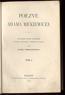 Poezye Adama Mickiewicza T 1 1899całość Wikiźródła
