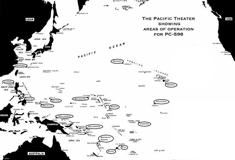 Pacific Theater showing areas of operation for PC-598