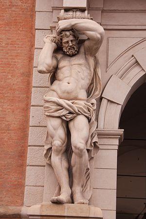 Telamon - Telemon on left of entrance to Palazzo Davia Bargellini, Bologna