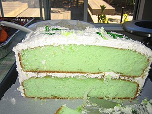 Sponge cake - Pandan cake. The cake-making technique was brought into Asia through European colonisation