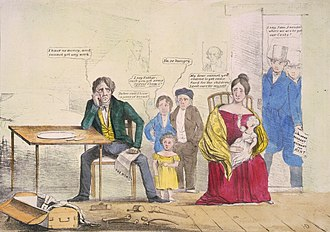 Panic of 1837 - Whig cartoon showing the effects of unemployment on a family that has portraits of Democrats  Andrew Jackson and Martin Van Buren on the wall.