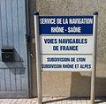 """Panneau """"Service de la navigation Rhône et Saône"""" (voies navigables de France) à Lyon.JPG"""