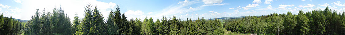 Panorama view from Rubačka observation tower in Oslavička, Třebíč District.jpg