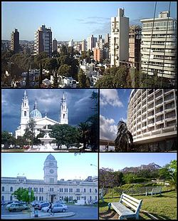 بالا از چپ : Panoramic view of the city; Paraná Cathedral; Hotel Mayorasgo; Entre Ríos Government House and Toma Vieja