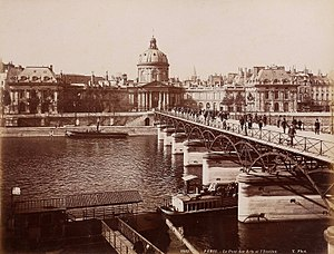 Pont des Arts - Bridge circa 1887 with view of Institut de France