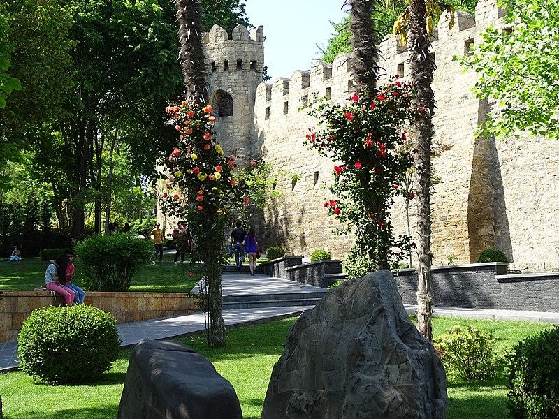 Park Scene outside Old Town Walls - Baku - Azerbaijan
