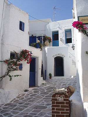 Aegean Sea - Traditional street of Lefkes, Paros-Greece