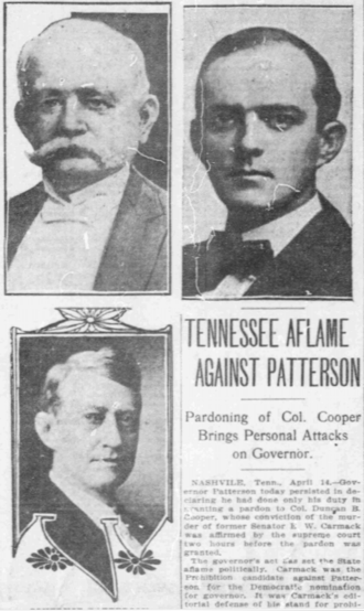 Malcolm R. Patterson - Clipping from The Washington Times discussing Patterson's pardoning of Duncan Cooper (pictured top-left)