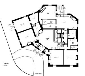 Patterson Mansion - Original plan for the ground floor.