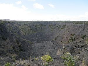 Chain of Craters Road - The Pauahi Crater, which last erupted in 1979, is 300 feet wide and up to 500 feet deep.