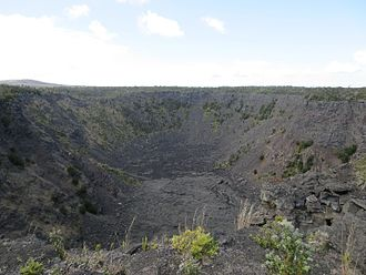 Chain of Craters Road - The Pauahi Crater, which last erupted in 1979, is 300 feet (100 m) wide and up to 500 feet (150 m) deep.