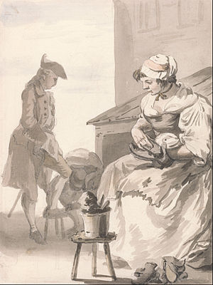 Second Thoughts Are Best - Shoe Cleaner (c.1759) by Paul Sandby