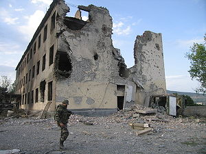 Timeline of the Russo-Georgian War - Destroyed barracks of Russian peacekeepers in Tskhinvali after the war.
