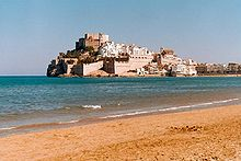 Photo of the castle of Peñiscola on a headland over the Mediterranean Sea