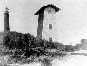 Pensacola Light - The Pensacola Bar Beacon, with the Pensacola Lighthouse in the background
