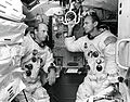 Pete Conrad (left) and Al Bean in a LM simulator.jpg