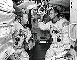 Pete Conrad (left) and Al Bean in a LM simulator.jpg