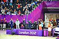 Peter Dickson (right) - more famously known as the X-Factor voice-over man - applauds Shauna Mullin and Zara Dampney of Team GB (7725466538).jpg