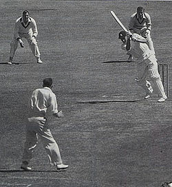 Peter May Cracks Another On Drive Off Bill Johnston In 1954 55 He Was Englands Top Scorer Both The Triumphs Of And 1956 Debacle