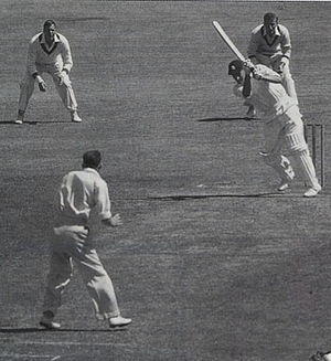 Peter May (cricketer) - Peter May cracks another on-drive off Bill Johnston in 1954–55. He was England's top scorer in both the triumphs of 1954–55 and 1956 and the debacle of 1958–59 and was seen by many as England's greatest post-war batsman