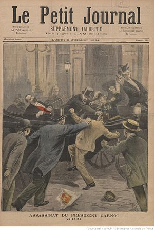 Marie François Sadi Carnot - Depiction of Carnot's assassination appearing in Le Petit Journal Illustré