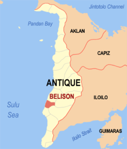 Map of Antique showing the location of Belison