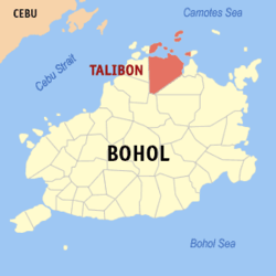 Map of Bohol showing the location of Talibon